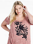 FLOCKED BIRD TEE, RENAISSANCE ROSE