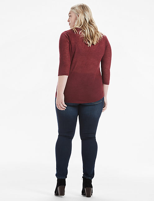 EMBROIDERED BIB TEE, #6729 TAWNY PORT