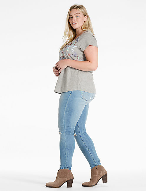 FLORAL EMBROIDERED TEE, HEATHER GREY