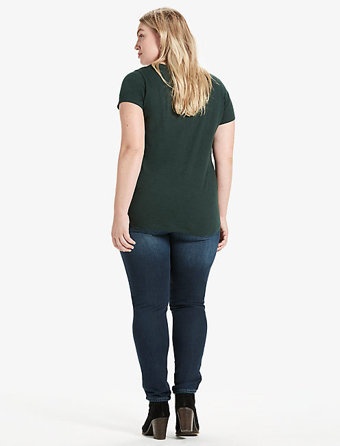 NECKLINE EMBROIDERED TEE, SCARAB