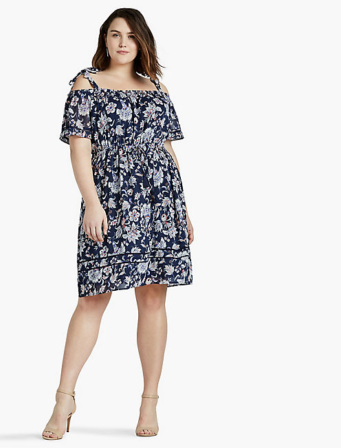 COLD SHOULDER DRESS, NAVY MULTI