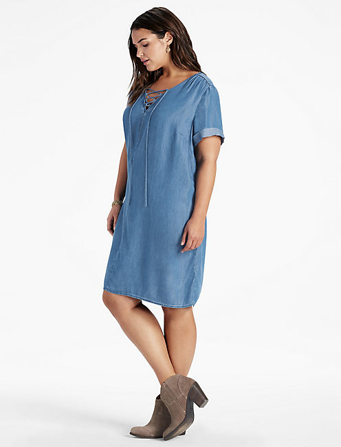LACE UP SWING DRESS, MEDIUM WASH