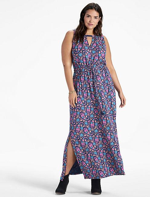 FLORAL PRINT LONG DRESS,