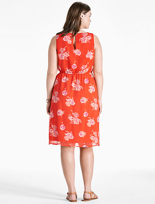POP FLORAL DRESS, RED MULTI