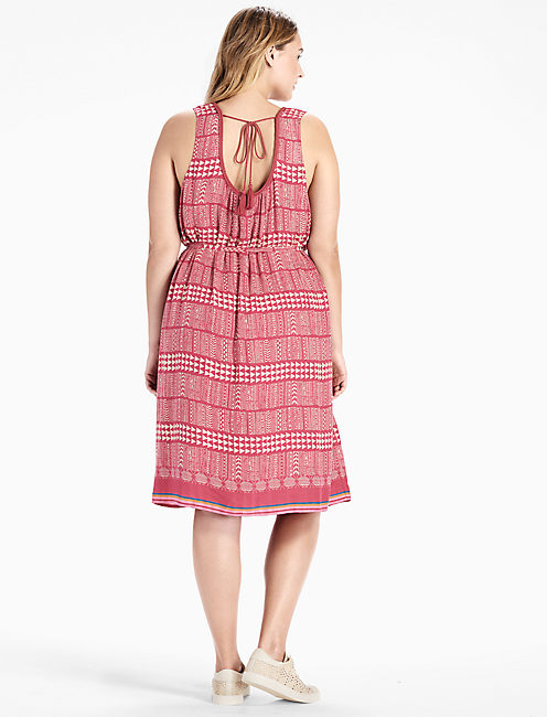 JACQUARD BORDER PRINT DRESS,