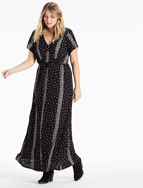 STRIPED DITSY MAXI DRESS,