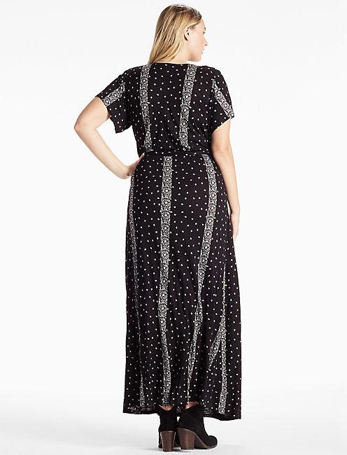 STRIPED DITSY MAXI DRESS, BLACK MULTI