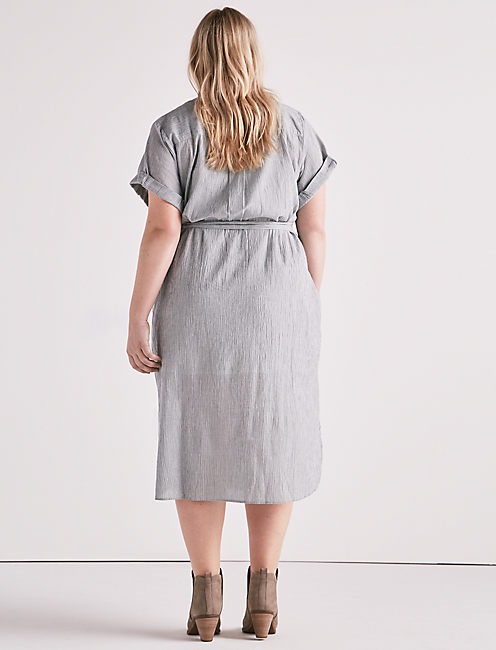 STRIPED SHIRT DRESS,