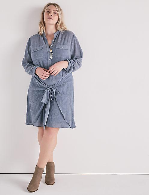 CHAMBRAY TIE SHIRT DRESS,