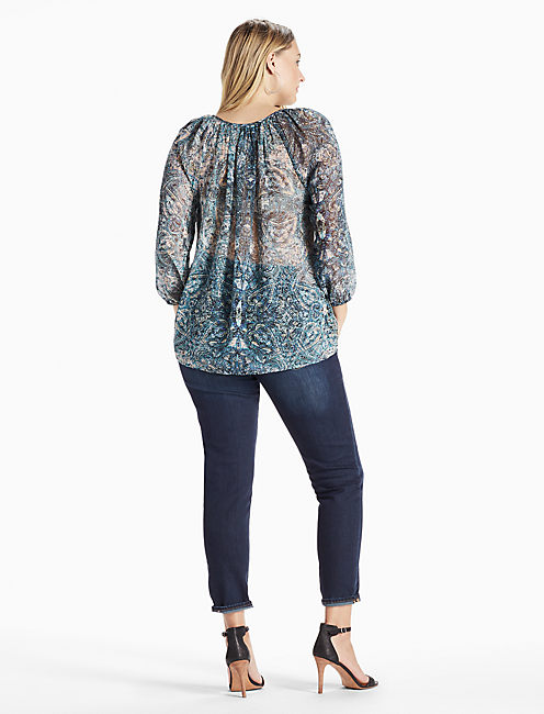 EMBROIDERED PAISLEY PEASANT TOP, GREEN MULTI