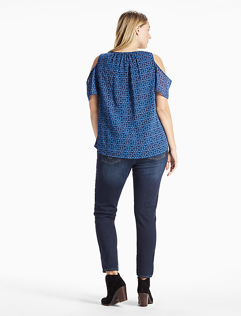 GEO COLD SHOULDER TOP, BLUE MULTI