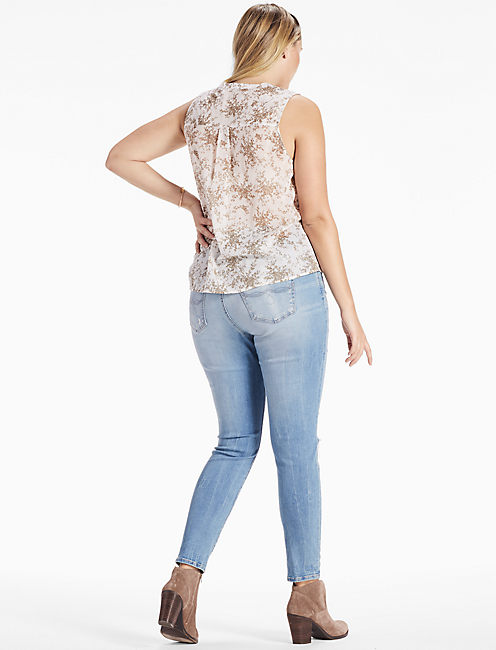 Sleeveless Printed Tie Front Top,