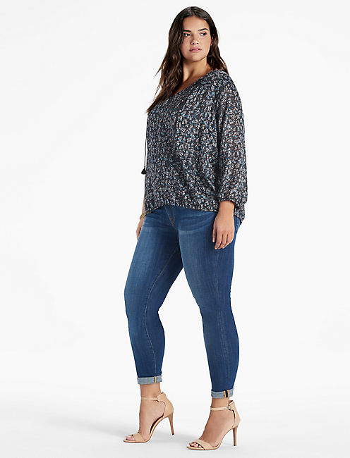 Lucky Curved Yoke Peasant Top