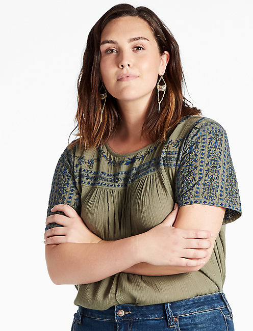EMBROIDERED SHIFT TOP, LIGHT OLIVE