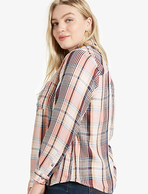 DUO FOLD ARROW PLAID SHIRT, PINK MULTI