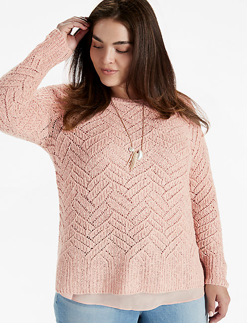 CHEVRON METALLIC SWEATER, PINK MULTI