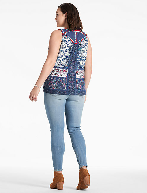 PRINTED LACE UP TANK,