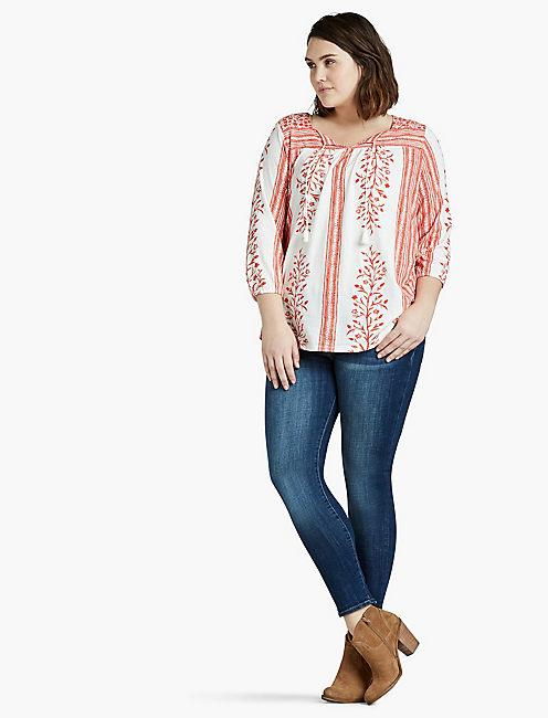 Lucky Floral Border Peasant Top