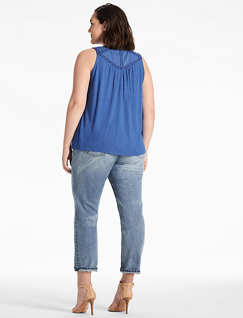 LACE UP WASHED TANK,