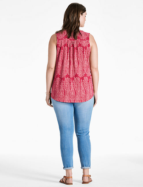 EMBROIDERED WOVEN MIX TANK,