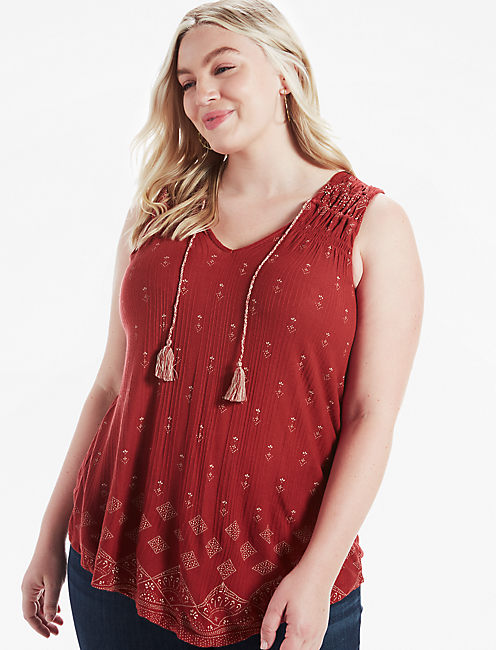 PRINTED SMOCKED SHELL, RED MULTI