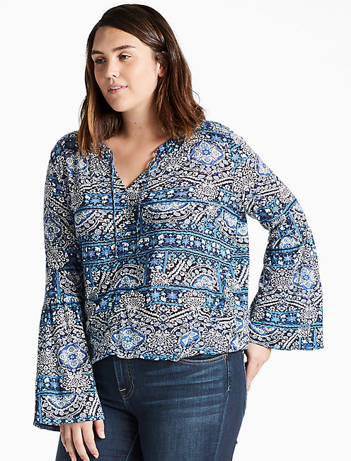 BELL SLEEVE PRINTED TOP,