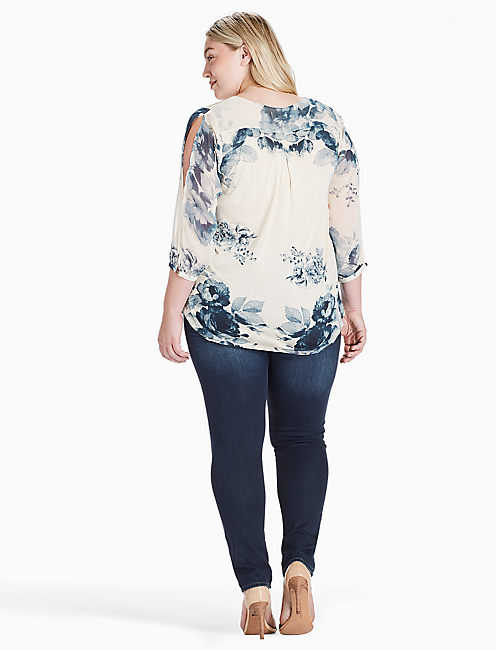 SOFT FLORAL PRINTED TOP, NATURAL MULTI