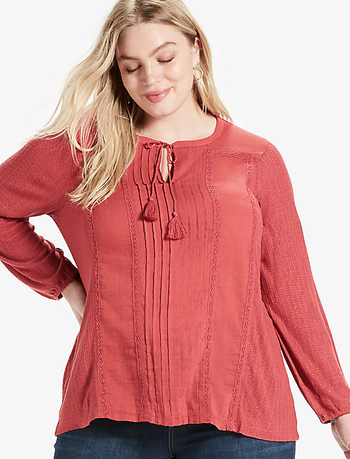 WOVEN DROP NEEDLE PEASANT TOP,
