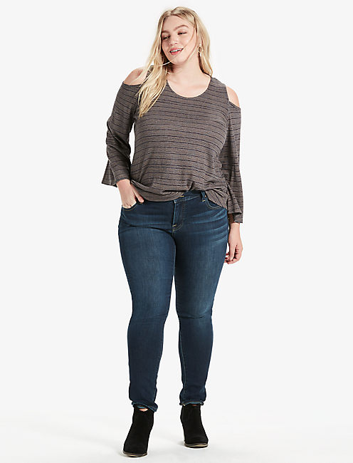 COLD SHOULDER FLUTTER TOP, CHARCOAL STRIPE