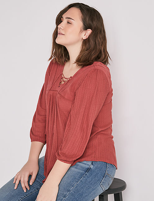 Drop Needle Lace Up Top Lucky Brand
