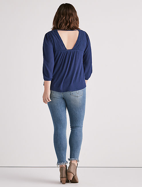 DROP NEEDLE LACE UP TOP,