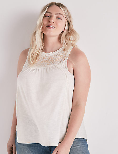EMBROIDERED HALTER TOP,