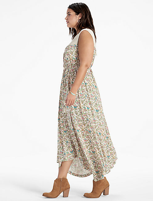 Lucky Crochet Yoke Maxi Dress