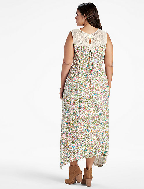 CROCHET YOKE MAXI DRESS,