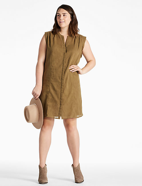POPOVER SOLID DRESS, DARK OLIVE