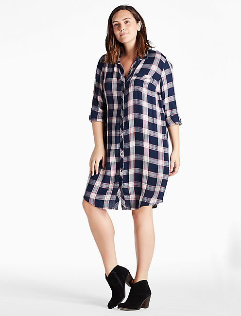 Lucky Plaid Shirt Dress