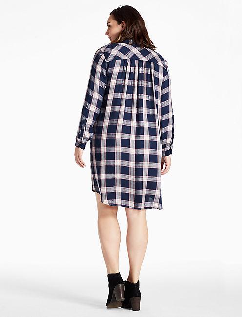 PLAID SHIRT DRESS, NAVY MULTI