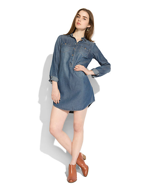 POPOVER CHAMBRAY DRESS, OCEAN