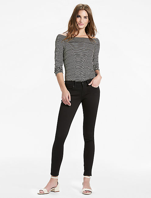 Lucky Charlie Low Rise Skinny Jean In Black Amber
