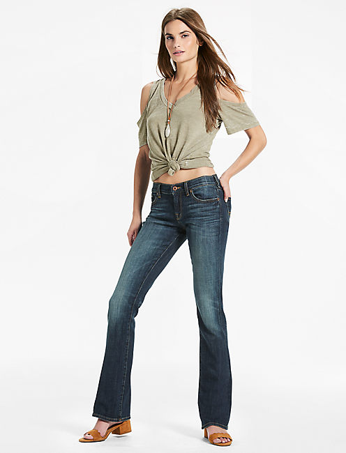 Lucky Charlie Low Rise Mini Bootcut Jean In Tiburon