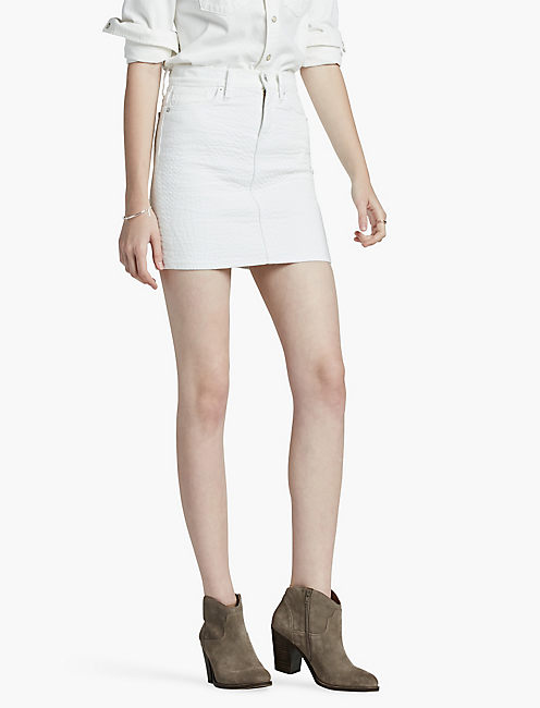 QUILTED DENIM SKIRT, WHITE