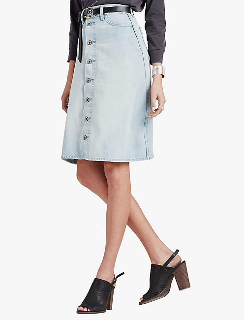 HIGH RISE BUTTON FRONT SKIRT, STRATFORD