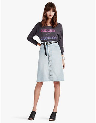 LUCKY HIGH RISE BUTTON FRONT SKIRT