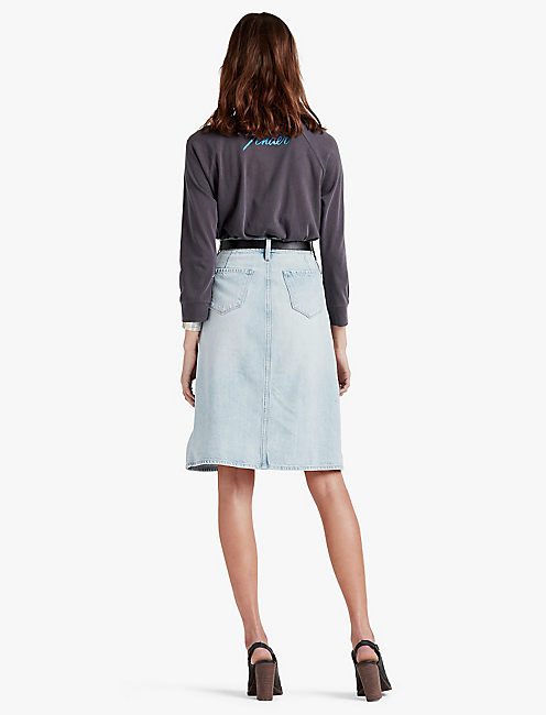 HIGH RISE BUTTON FRONT SKIRT,