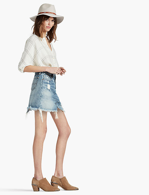 Lucky Old Favorite Denim Mini Skirt In Azle