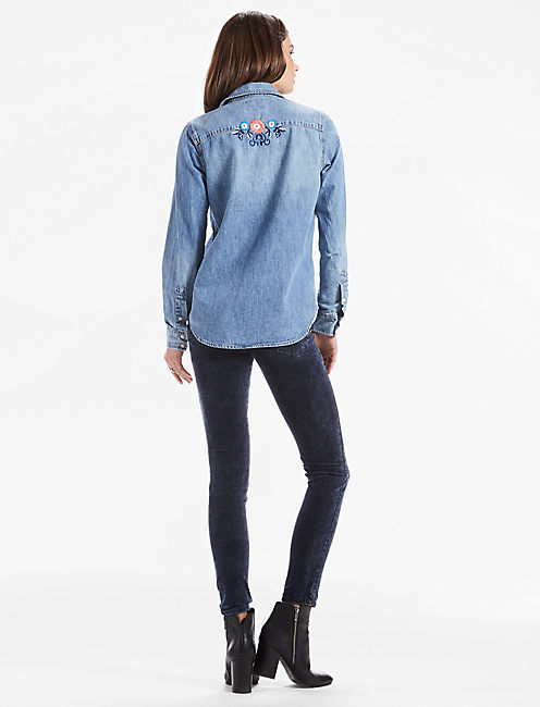FLORAL EMBROIDERED DENIM WESTERN SHIRT,
