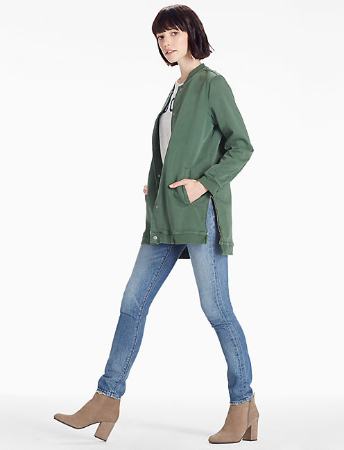 LONG VARSITY JACKET IN CILANTRO,