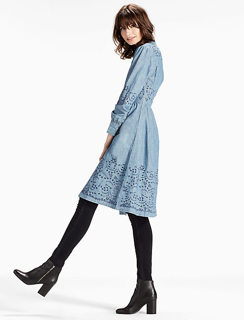 MIDI CHAMBRAY DRESS WITH EMBROIDERED EYELET, ABERNATHY