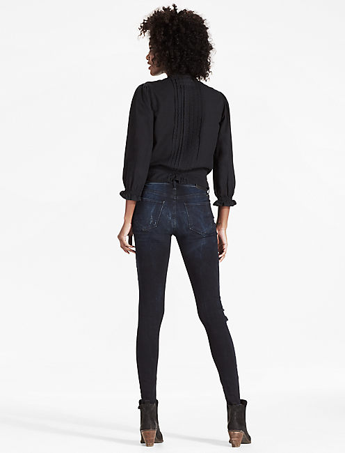 BLACK DENIM SHIRT WITH PINTUCKS, LAMOILLE