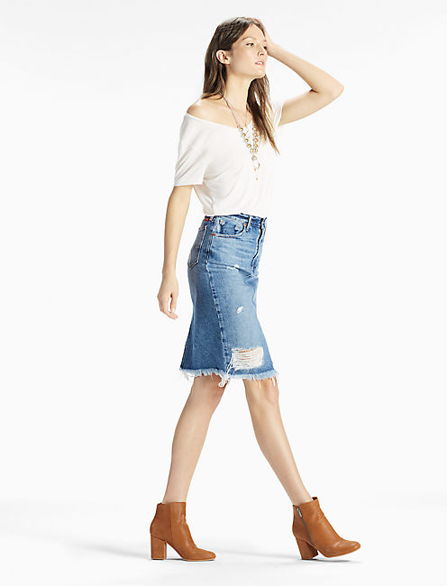 DENIM PENCIL SKIRT WITH DESTRUCTION,
